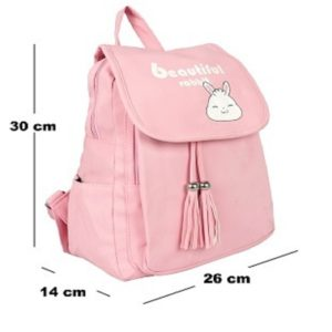 Derben Clove Cute Pink Thick Polyester Casual Backpack College Bag for Girls – Pink