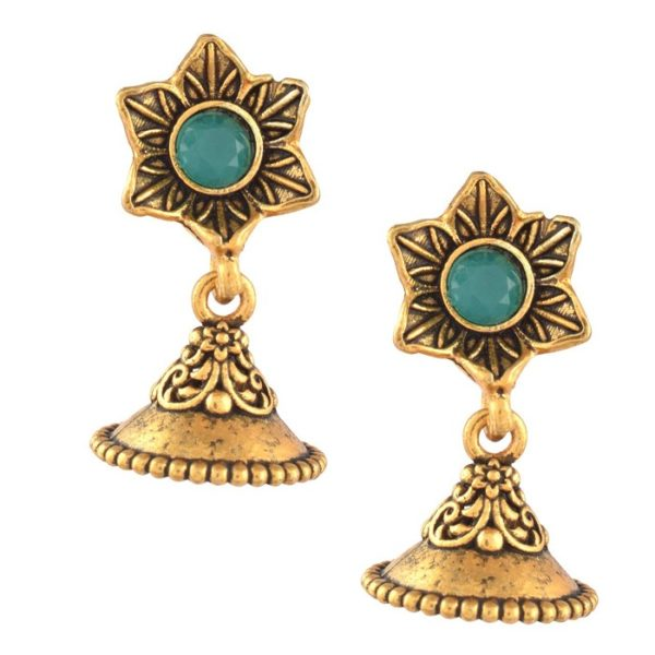 Clove Antique Peacock and Jhumki Design Brass Royal Traditional Necklace Set for Girls and Women