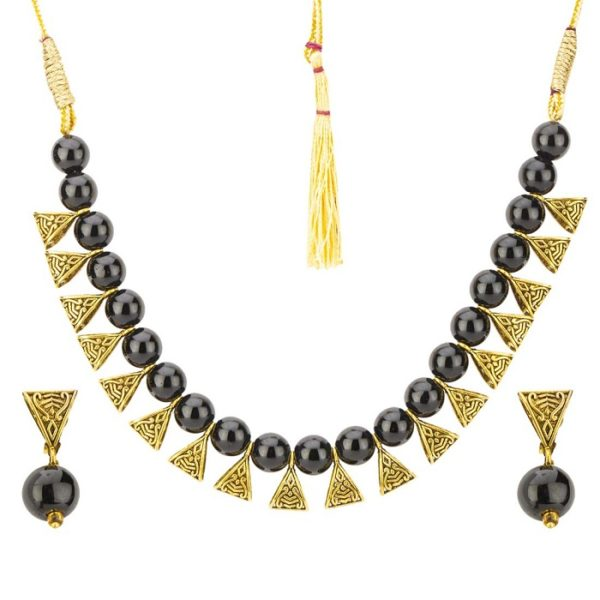 Beaded Exclusive Brass Necklace Set for Girls and Women
