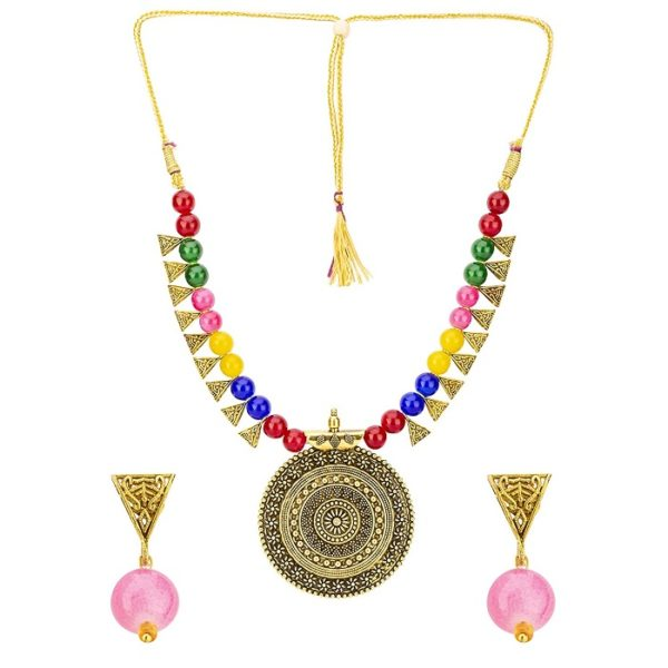 Brass and Beads Contemporary Traditional Necklace Set for Girls and Women