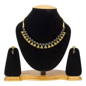 Beaded Exclusive Brass Necklace Set for Girls and Women – Black