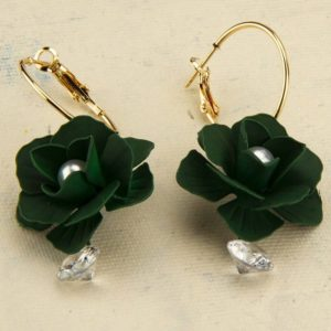 Beautiful Exclusive Green Colour Flower Gold Plated Brass Hoop Earrings for Women – Green