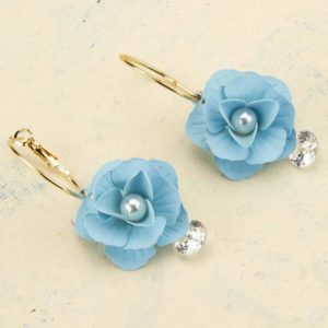 Beautiful Blue Flower Gold Plated Hoop Earrings for Girls and Women – Blue