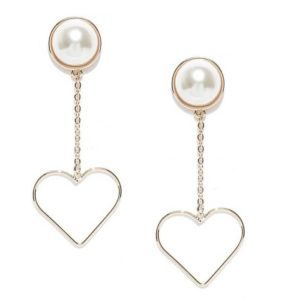 Exclusive Trendy Heart Shaped Pearl Hanging Tassel Drop and Danglers Earrings for Girls – Rose Gold