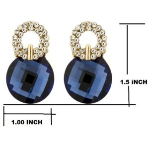 Beautiful Sparkling Blue Crystal Zircons Stud Earrings for Girls and Women – Blue
