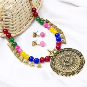 Brass and Beads Contemporary Traditional Necklace Set for Girls and Women – Multicolour