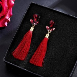 Shining Red Crystal Thread Tassel Earrings for Girls and Women – Red