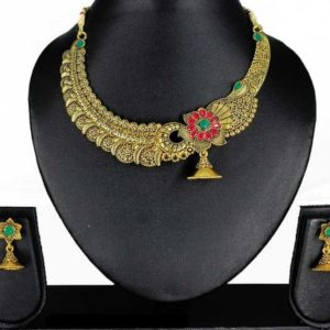 Clove Antique Peacock and Jhumki Design Brass Royal Traditional Necklace Set for Girls and Women – Gold