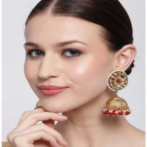 Beautiful Traditional Dome Shaped Kundan Stud Red Pearls Golden Brass Jhumka for Women
