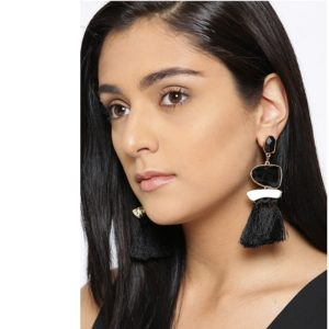 Exclusive 18k (750) Fusion Collection Gold Plated Copper and Agate Tassel Earrings for Girls & Women – Black