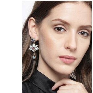 Beautiful Korean Crystal Shiny Glossy Flower Drop Earrings for Girls and Women – Multicolour