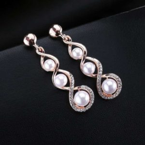 Beautiful Pompous Design Pearls Stud Exclusive Earrings for Girls and Women – Rose Gold