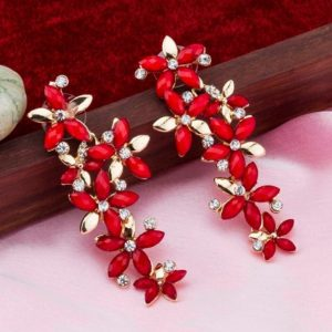 Beautiful Italian Long Red Golden Crystal Stone Zircons Flowers Earrings for Girls and Women – Red