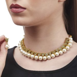 Derben Clove Beaded Exclusive Brass Necklace set for Girls and Women – White
