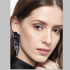 Amazing Tear Drop Crystal Wedding Danglers for Girls and Women – Blue
