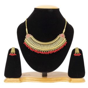 Latest Traditional Gold Plated Alloy Necklace Set for Girls and Women
