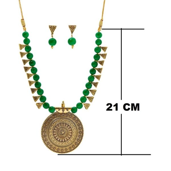 Brass and Beads Contemporary Traditional Necklace set for Girls and Women – Green