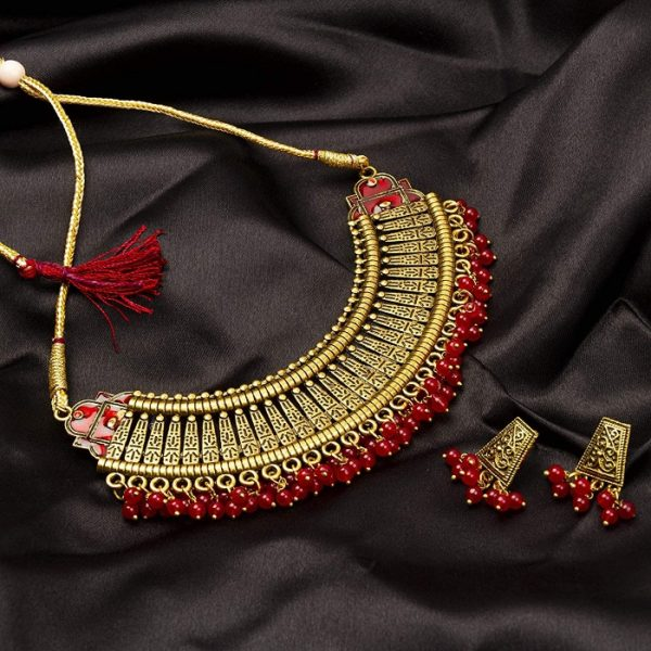 Latest Traditional Gold Plated Alloy Necklace Set