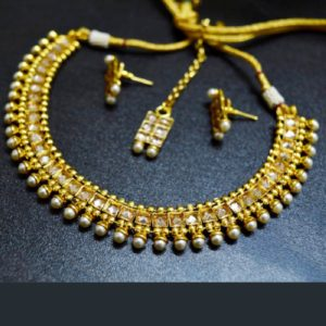 Derben Clove Antique Gold Plated Shiny Crystal Kundan Pearls Korean Necklace Set for Girls and Women – Gold