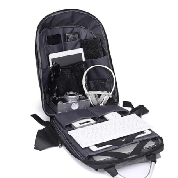 Derben Clove Oxford Fabric and Artificial Leather Anti Theft Backpack with Number Locking System and USB Charging Port for Boys