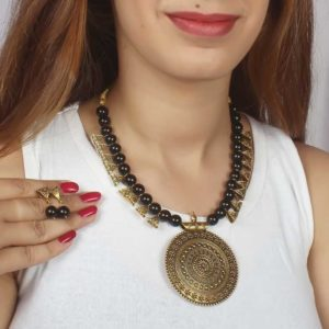 Brass and Beads Contemporary Traditional Necklace Set for Girls and Women – Black