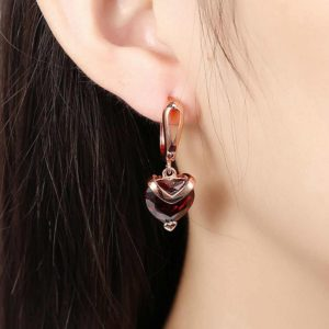 Copper Crystal Red Heart Shaped Ruby Stud Korean Drop Earrings for Girls – Red