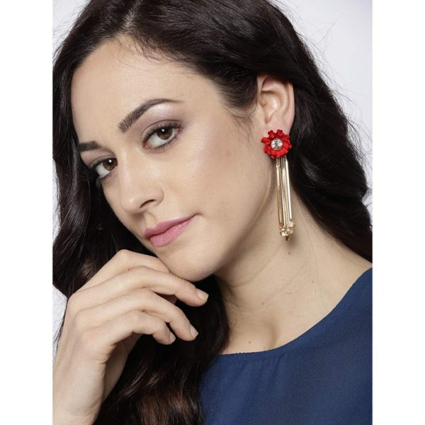 Trendy Floral Design Cubic Zirconia Drop and Dangler Crystal Earring for Women