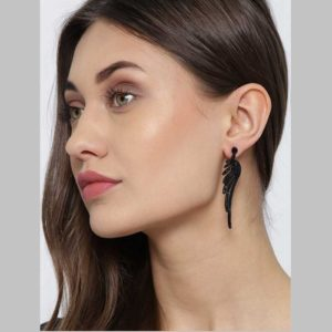 Feather Inspired Beautiful Trendy Oxidized Italian Earrings for Girls and Women – Black