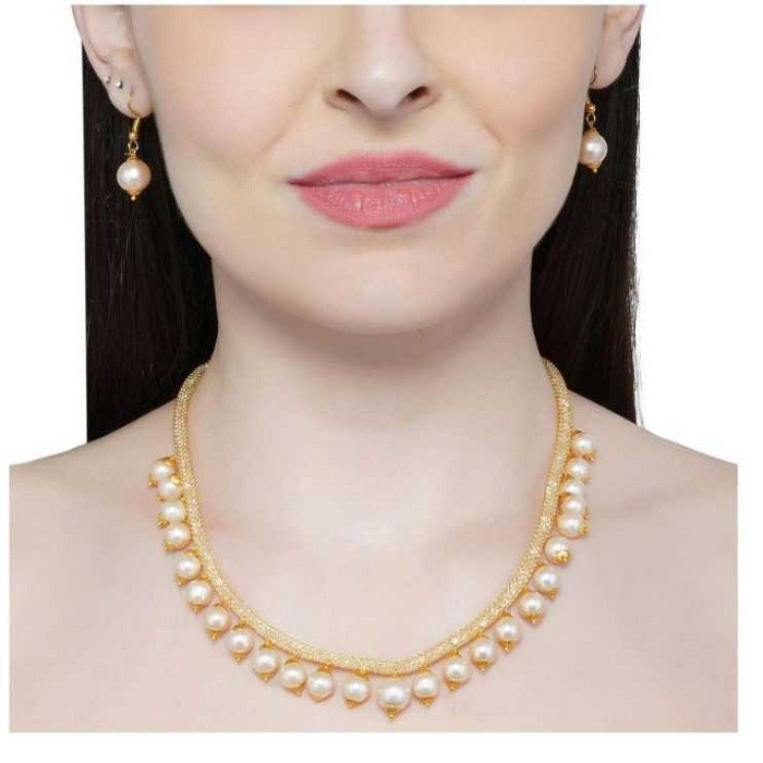Glamorous American Diamond Filled Chain and Pearls Necklace Set for Girls and Women – White