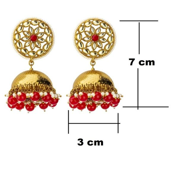 eautiful Traditional Dome Shaped Kundan Stud Red Pearls Golden Brass Jhumka for Women