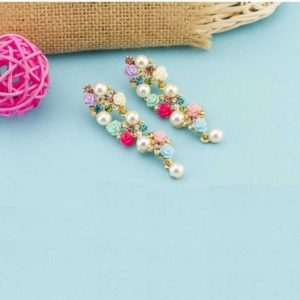 Trendy Floral Zircons and Pearls Long Earrings for Girls and Women – Multi Colour