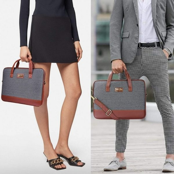 Derben Clove Fine Knitted Fabric and Vegan Leather Laptop Messenger Side Bag for Men and Women