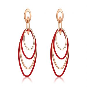 Derben Clove Shiny Korean Gold and Red Oval Hoops Hanging Earrings – Red
