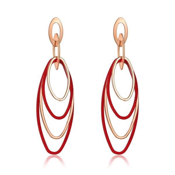 Derben Clove Shiny Korean Gold and Red Oval Hoops Hanging Earrings - Red