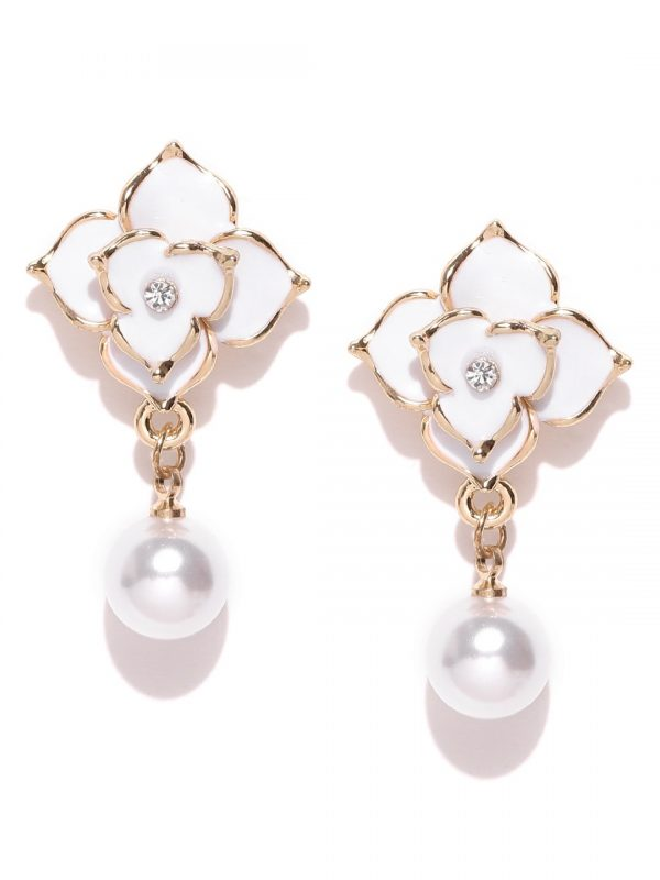 Derben Clove Scintillating New Arrival Korean Gold Plated border Floral Earring with Pearl Hanging for Girls - White